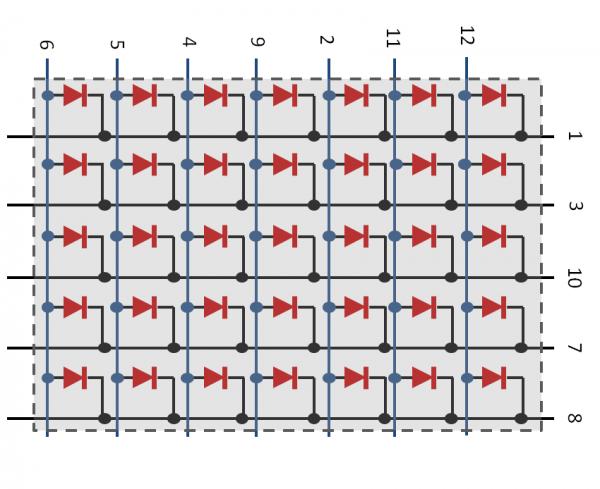 Pin pada LED Matrix tipe QDSP-L149