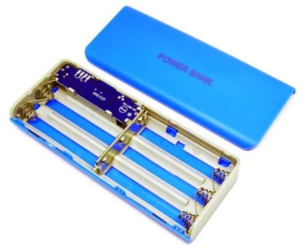 Casisi powerbank dengan 5 baterai 18650  warna biru