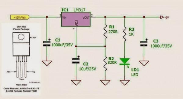 Rangkaian regulator seri dengan LM317 untuk powerbank