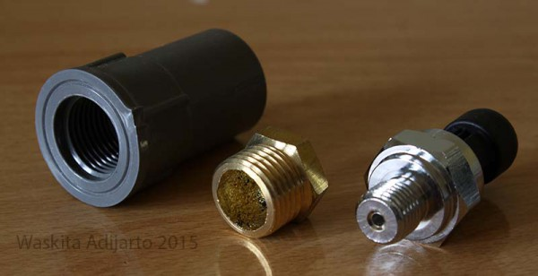 Socket PVB 1/2 inch, Ring 1/2-1/4 inch dan sensor tekanan air 1/4 inch