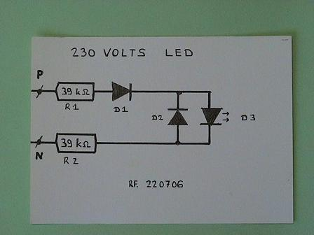 Rangkaian sederhana LED 220 volt