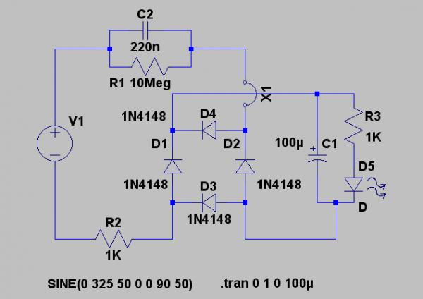Rangkaian LED dari jala-jala 220 volt