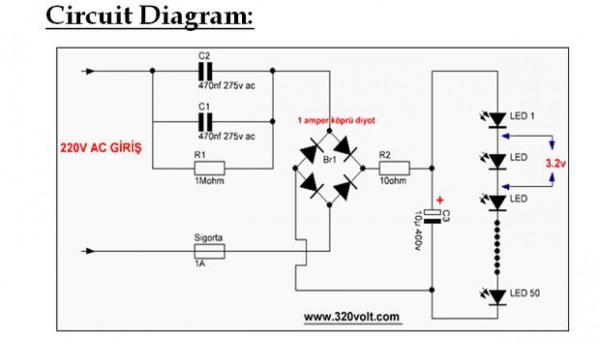 Rangkaian LED dari 220 volt AC