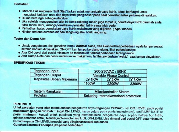 Manual LY-1K bahasa Indonesia