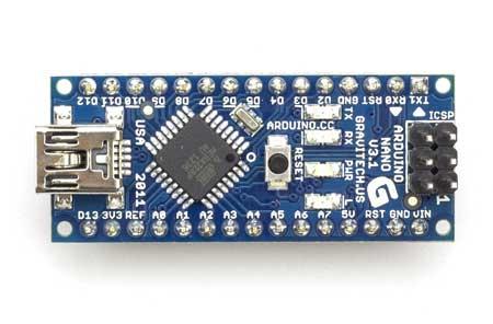 Arduino Nano V3 asli tampak atas