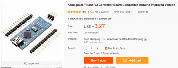 Arduino Nano v3 compatible seharga USD 3.27