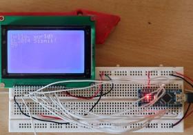 Arduino Nano Dengan LCD Matrix JHD12864E