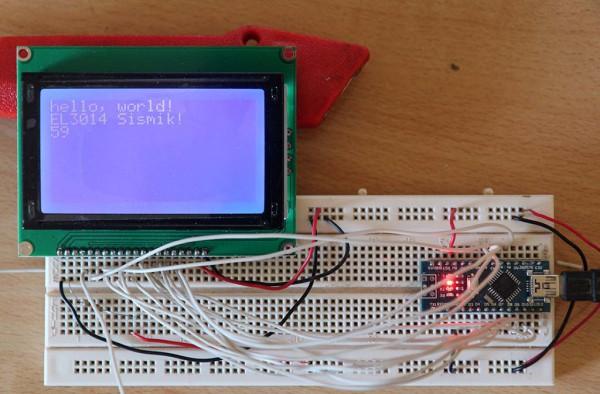 Arduino Nano V3 mengendalikan LCD dot matrix JHD12864