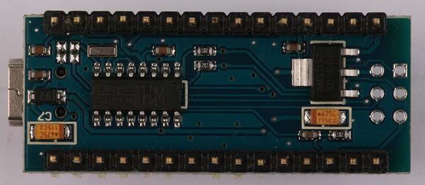 Arduino Nano V3 clone tampak bawah