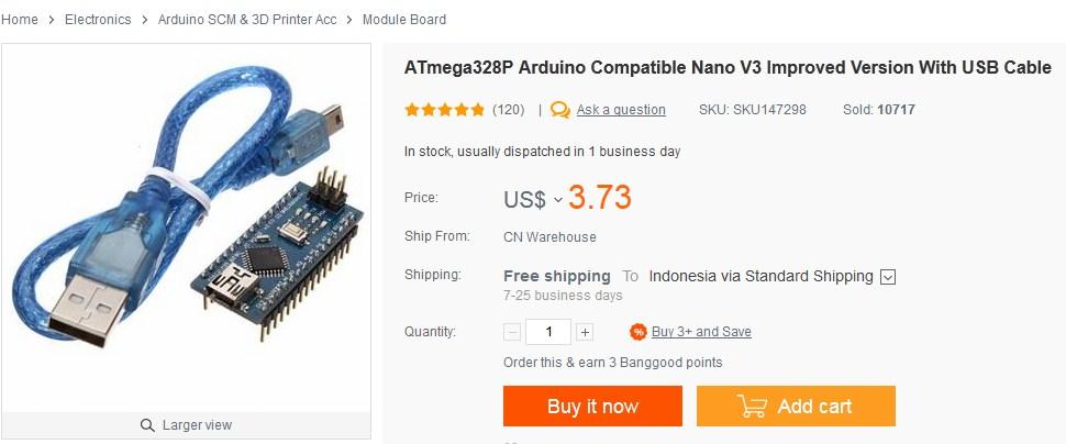 Arduino Nano V3 kloningan