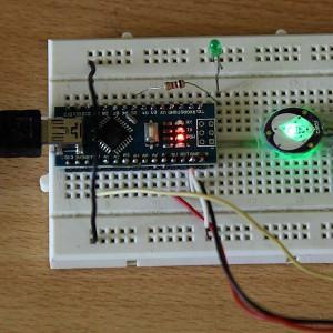 Rangkaian Arduino dengan sensor detak jantung