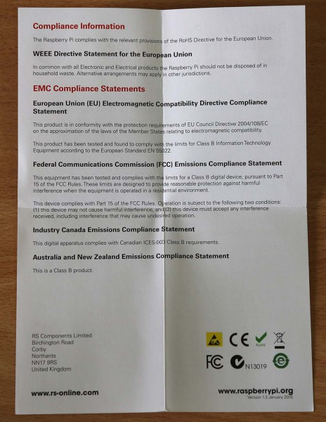Raspberry Pi 2 model B Regulatory Compliance and Safety Information