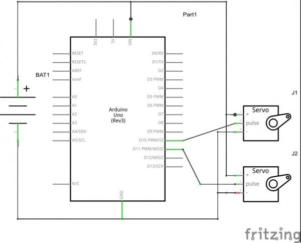 Rangkaian Arduino dengan 1 sumber daya
