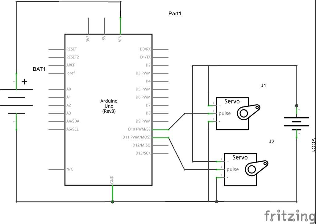 Rangkaian Arduino dengan 2 batere