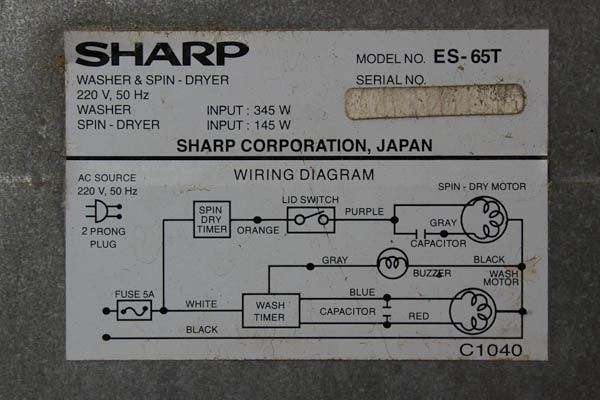 Rangkaian elektrikal mesin cuci Sharp ES 65 T