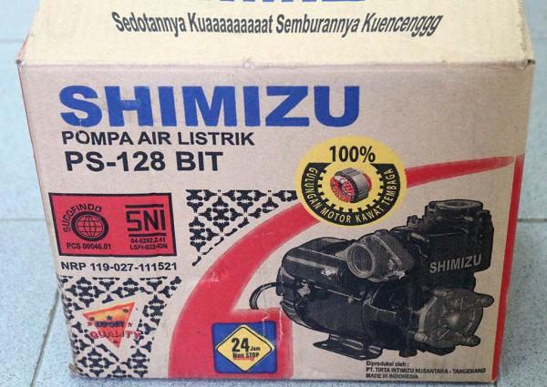 Kardus pompa Shimizu PS-128 BIT bagian depan