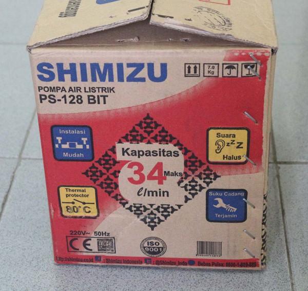 Kardus pompa Shimizu PS-128 BIT bagian samping