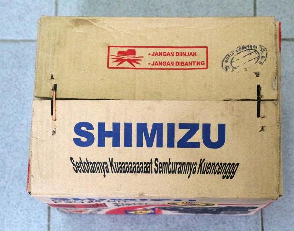 Kardus pompa Shimizu PS-128 BIT bagian atas