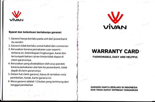 Kartu garansi Vivan M04