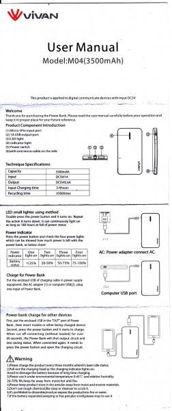 Manual Vivan M04 bahasa Inggris