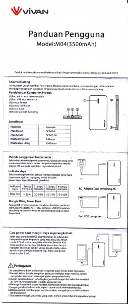 Manual Vivan M04 bahasa Indonesia