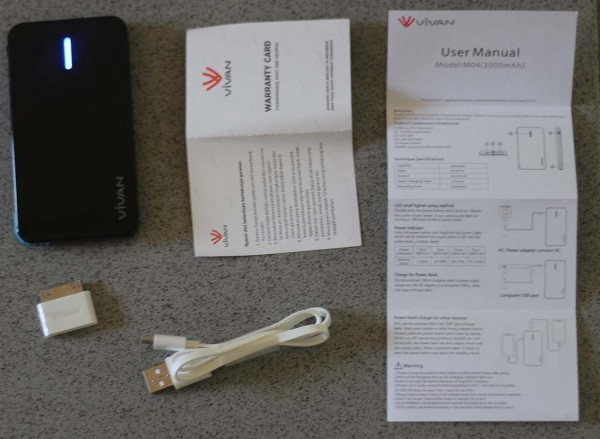 Powerbank Vivan M04: isi paket