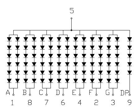 Rangkaian dalam LED 7 segment YSD-1600AR6F