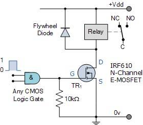 Relay dengan input dari rangkaian logika digital
