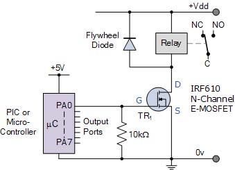 Relay dengan input dari mikrokontroler