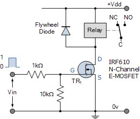Relay dengan MOSFET n-channel