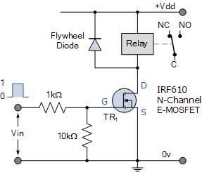 Relay dengan MOSFET n-channel