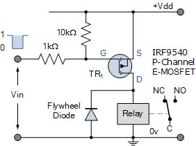 Relay dengan MOSFET p-channel