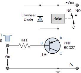 Relay dengan transistor PNP emitter follower
