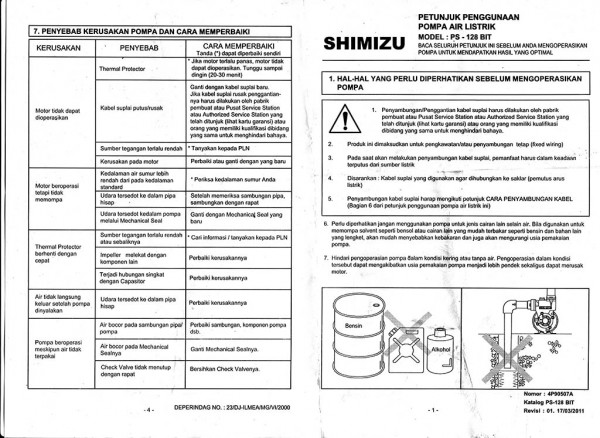 Manual Shimizu PS-128 BIT halaman 1 dan 4
