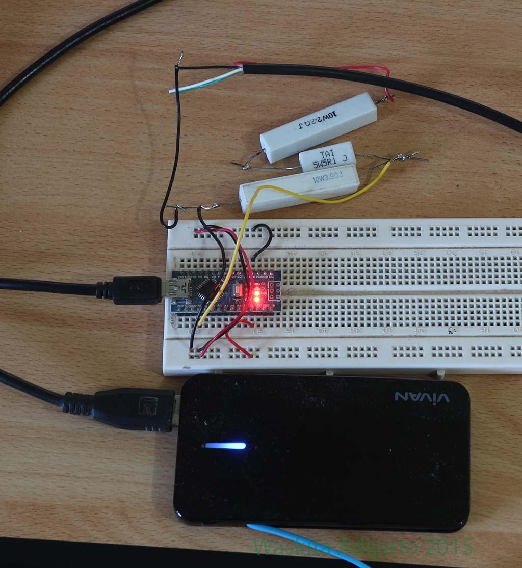 Mengukur kapasitas powerbank dengan Arduino