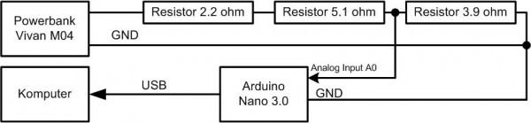 Skema rangkaian pengukuran energi keluar dengan Arduino