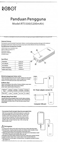 Manual bahasa Indonesia untuk powerbank RT-5500