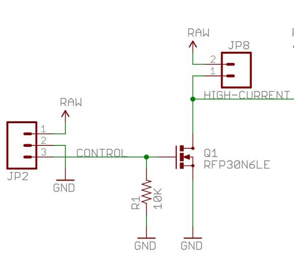 Rangkaian MOSFET dari Sparkfun