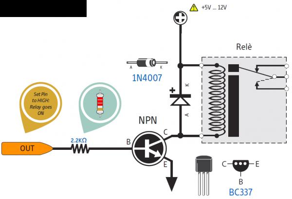 Relay dikendalikan transistor NPN