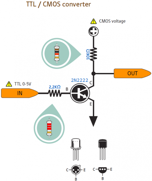 Konverter TTL 5 volt ke level CMOS