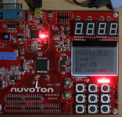 Demo watchdog timer, realtime clock Nuvoton NU-LB-NUC140