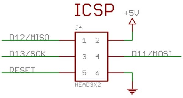 Konektor ICSP pada Arduino Nano dan UNO