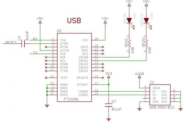 Rangkaian USB to serial pada Arduino UNO dan Nano