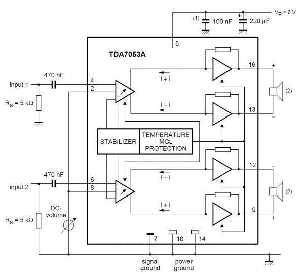 Rangkaian dasar TDA7053