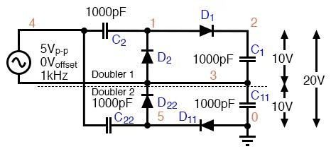 Penaik tegangan 4x gelombang penuh (full wave voltage quadrupler)