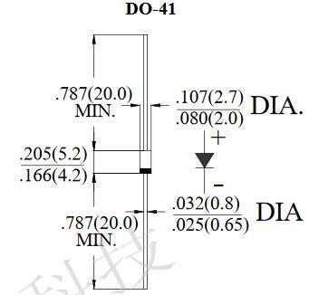 Dimensi fisik dioda RFC3K dalam inch dan mm