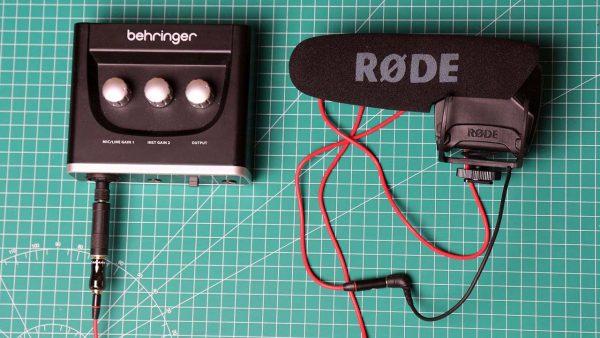 Mikrofon Rode VideoMic Pro dengan Behringer UM2