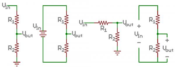 Pembagi tegangan dengan resistor