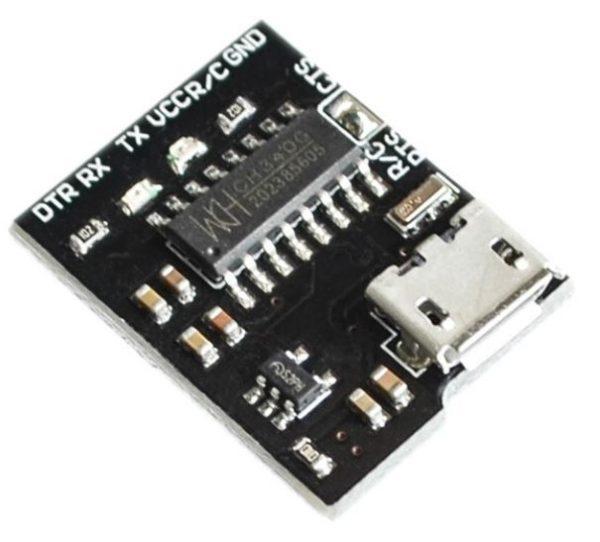 Contoh modul USB Serial CH340 dengan konektor micro-USB