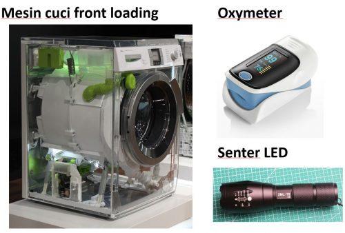 Contoh sistem embedded: mesin cuci front loading otomatis, pulse oxymeter, senter LED